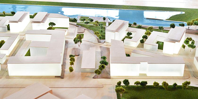 Dominion Bridge Model - Central plaza aerial view