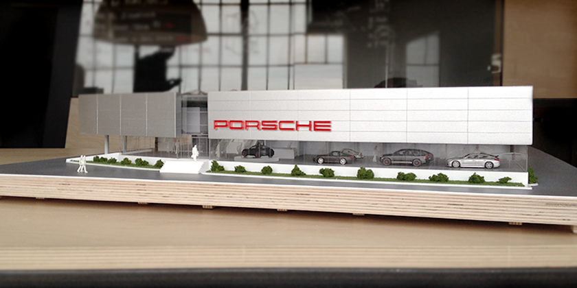 Porsche Prestige Car Dealership Model - Front view