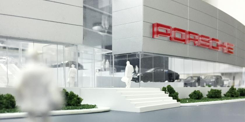 Maquette Concessionnaire Porsche Prestige - Vue rapprochée de l'entrée